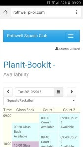 smartphone online squash booking system